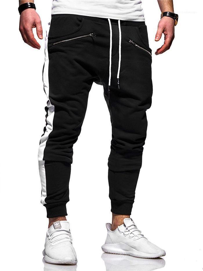 Giyim Casual Ekose Baskı Cep Fermuar Giyim Erkek Spor Tasarımcı Pantolon Moda Stil Draestring Kalem Homme