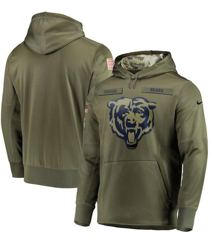 2019 Men's Sweatshirt Olive Salute to Service Sideline Therma Pullover Hoodie