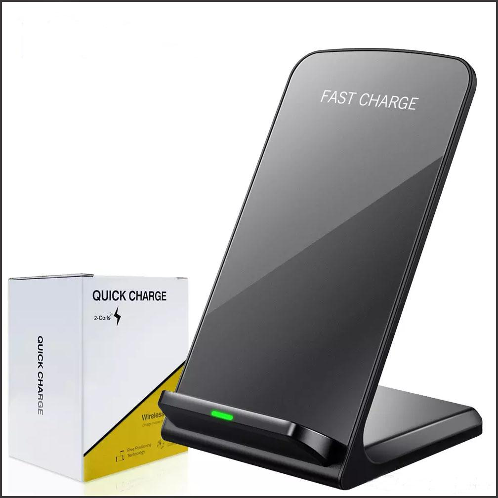 2 Coils Wireless Charger For iPhone 11 Pro X 8 Plus Qi Wireless Fast Charging Stand Pad For Samsung S20 S10 Note Qi-enabled Smart phones