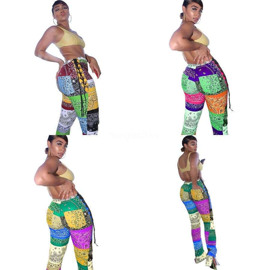 Yeni Baskı Tozluklar Güzel Moda Patchwork Paisley strappy Bölünmüş Pantolon koyun Kalça Elastik Yüksek Bel Legging Yok Şeffaf Spor Legg # 348