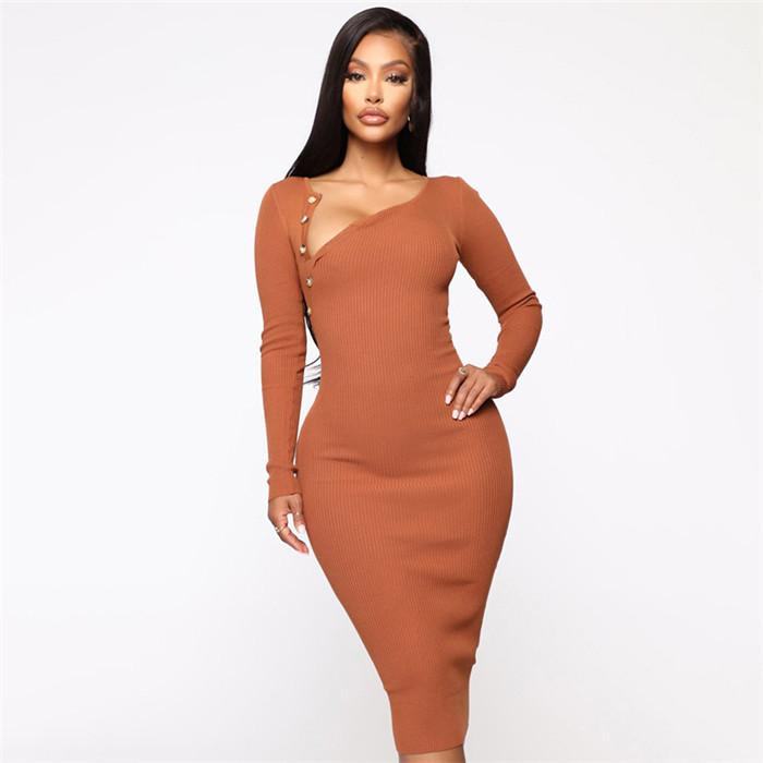 Femmes Bouton O-cou Robe sexy Automne Hiver manches longues Ensemble Hip Slim Knit Robes Femmes Night Club Robe Casual