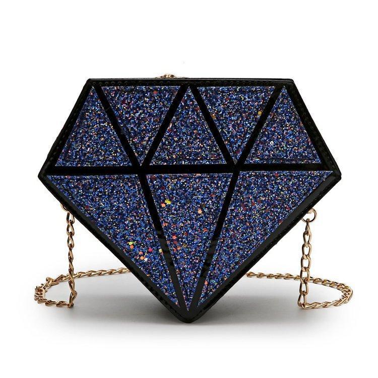 Femmes Mode diamant Forme Sac Clutch Jour Laser Sac Sequin géométrique Perle d'embrayage Casual Sacs à bandoulière