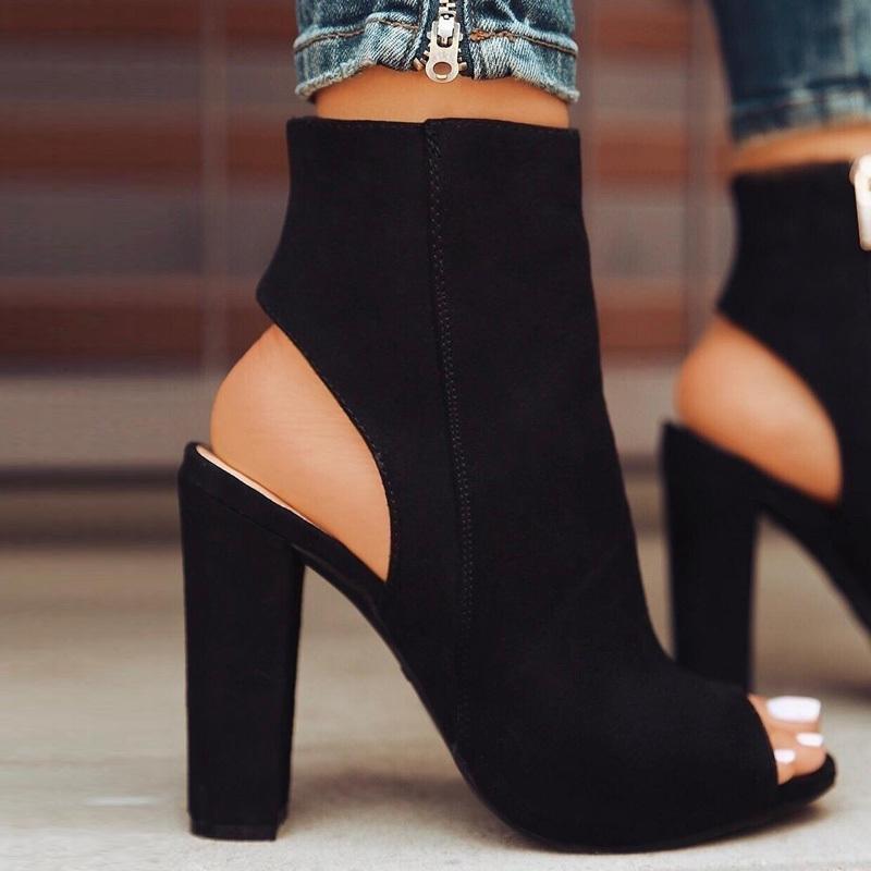 Frauen-Sommer-Boots-Veloursleder beiläufige Peep Toe-Absatz-Schuhe Frau Schwarz Booties Zipper-Platz Absatz Stiefeletten Plus Size 43 CX200820