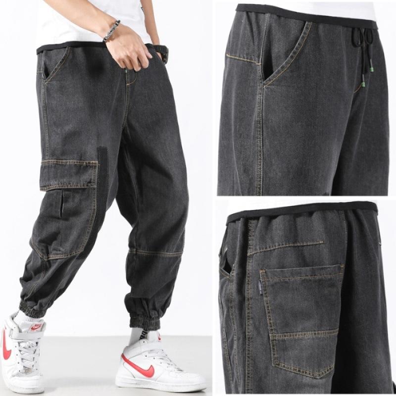 Jeans men's fashion brand autumn 2020 street fashion Harlan dad loose wide leg straight ankle-length denim ankle pants Men's ankle pants pan