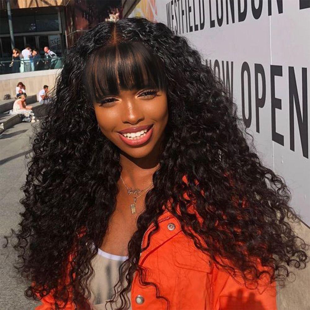 Tief Curly lange Jungfrau Perücke brasilianisches Remy Haar Mittelteil Menschenhaar-Perücken für Frauen natürlicher Farben-Voll maschinell hergestellte Perücke mit Pony