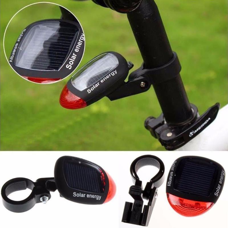 Bike luce alimentata solare LED lampeggiante posteriore Fanale per il preavviso di riciclaggio della bicicletta di sicurezza spia lampeggiante Accessori # h