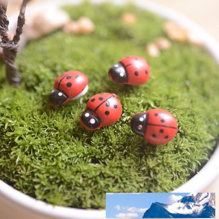 artificiels mini-coccinelles insectes beatle décor de la maison de l'artisanat de résine de décoration terrariums de miniatures de jardin de fées