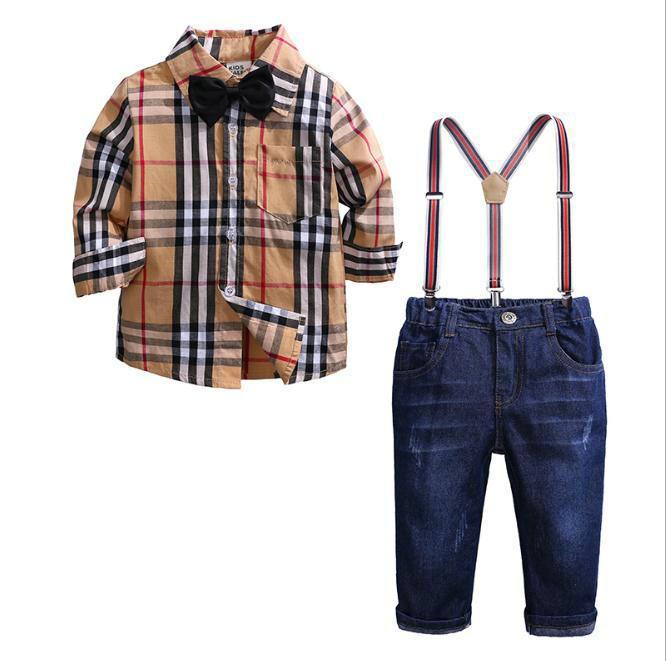 Denim Bretelle Pantaloni Neonati maschi signore vestito Bambini Plaid Shirt Top + Outfits bambini Set di abbigliamento autunno vestiti dei ragazzi
