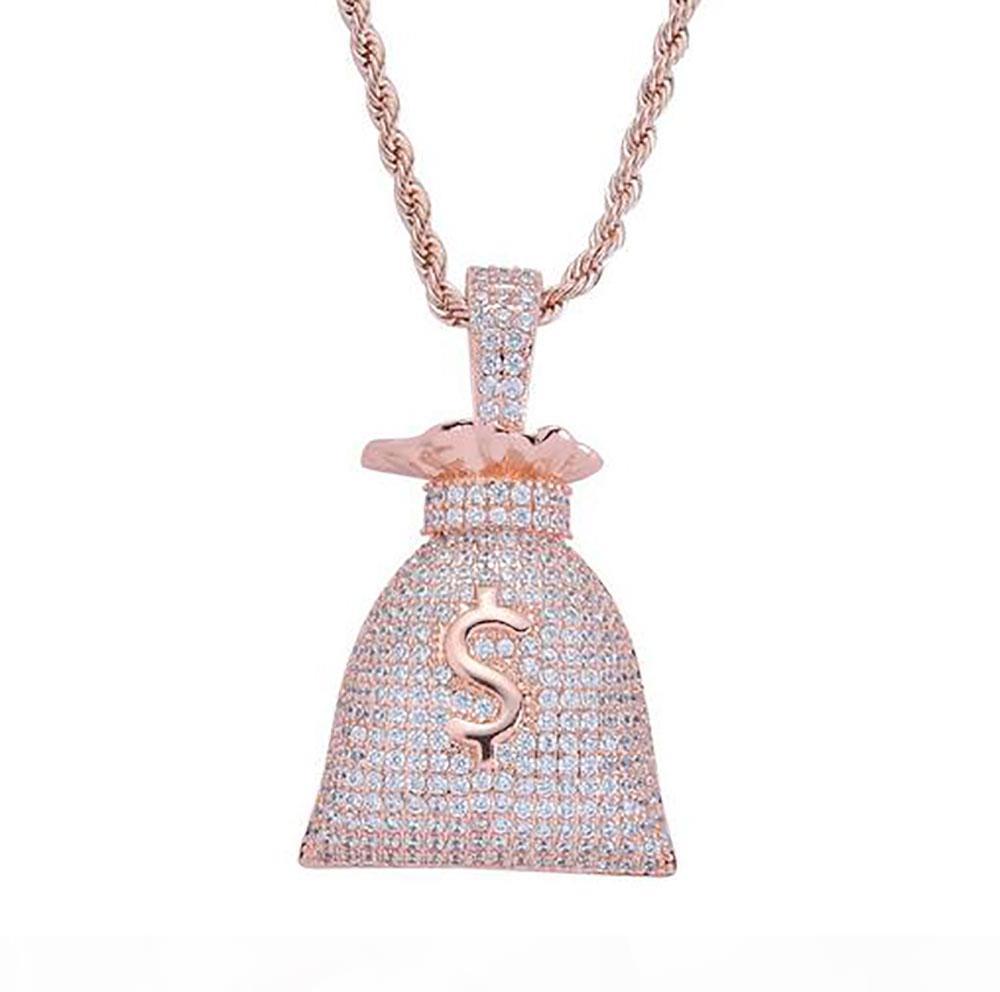 FUORI GHIACCIATO CZ BLING IL SEGNO DEL DOLLARO MONEY BAG PENDENTE MENS micro pavimenta Cubic Zirconia ORO ARGENTO Collana in oro rosa