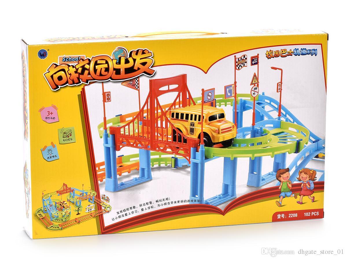102pcs City Building Blocks Rall Car les enfants Diy Assemblée Construire Circulaire Jouets Imagination Inspire Conception Divers Forme Transport ferroviaire 05