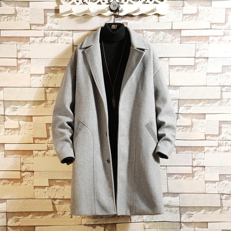 Laine de l'homme mélange hiver manteau de laine hommes mode de mode de mode solide Couleur Casual Wind Man British Man Streetwear Love Long Veste