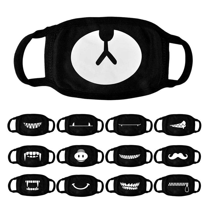 Toz Sevimli Komik Pamuk Yüz Kapak Parti Festivali Cosplay Unisex Yetişkin Çocuklar Siyah İçin Yıkanabilir Resuable Koruma Maskeler Maske