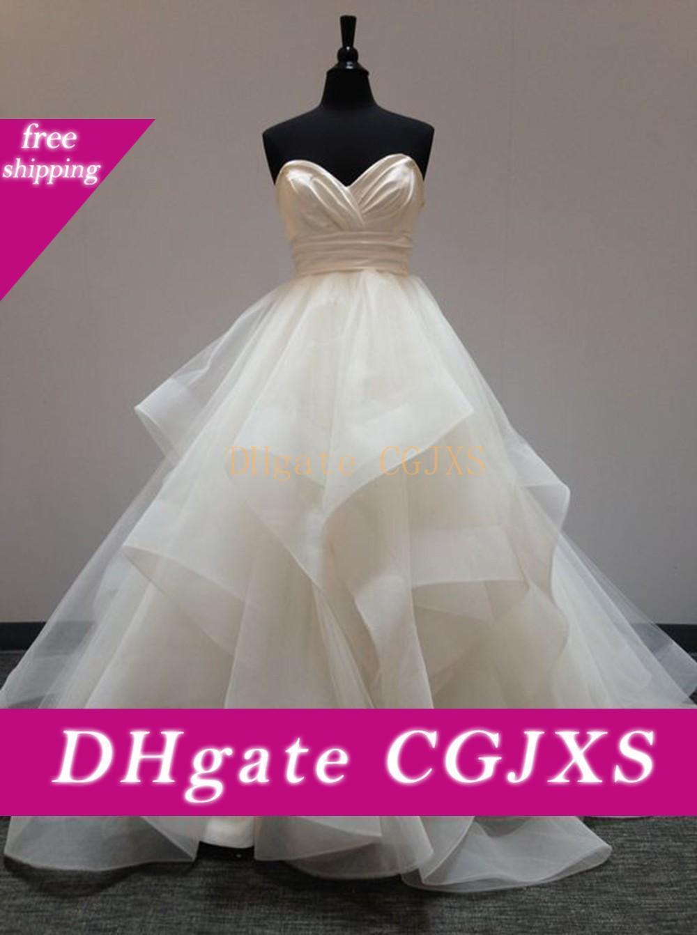 Ouro Vestidos de casamento Bola de vestidos até o chão camadas Querida vestidos de noiva Ruffle mangas Zipper Organza vestidos de casamento