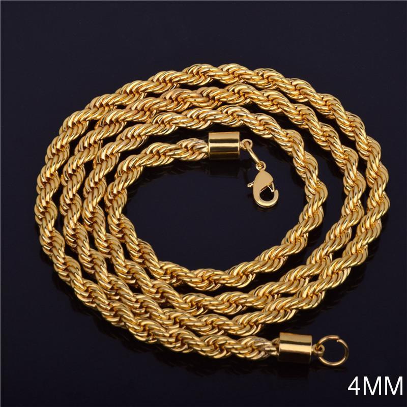 Cadeia 4MM 18K amarelo banhado a ouro cubana Hiphop Fazer a ligação Choker torcida Wrest Rope Colar Cadeia Mens Mulheres Jóias presente