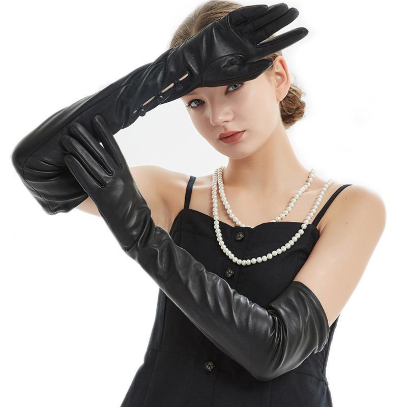 """60cm (23.6"""" ) Pulsante polso lungo i guanti di cuoio 2 opear lunga nera reale"""