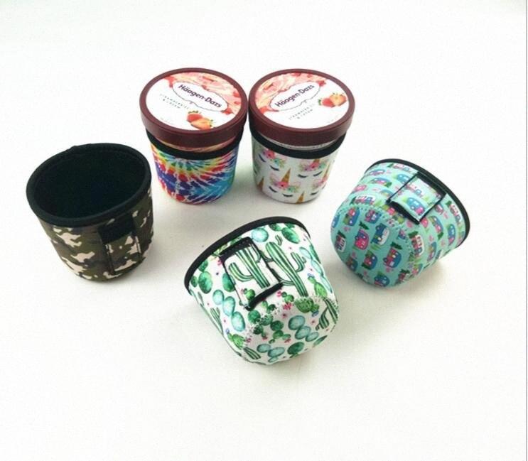 Néoprène Ice Cream Cover Holder Ice Café manches Coupe d'impression de léopard Housses de tournesol GLACIÈRES avec des outils de poignée accessoires DHF550 d47A #