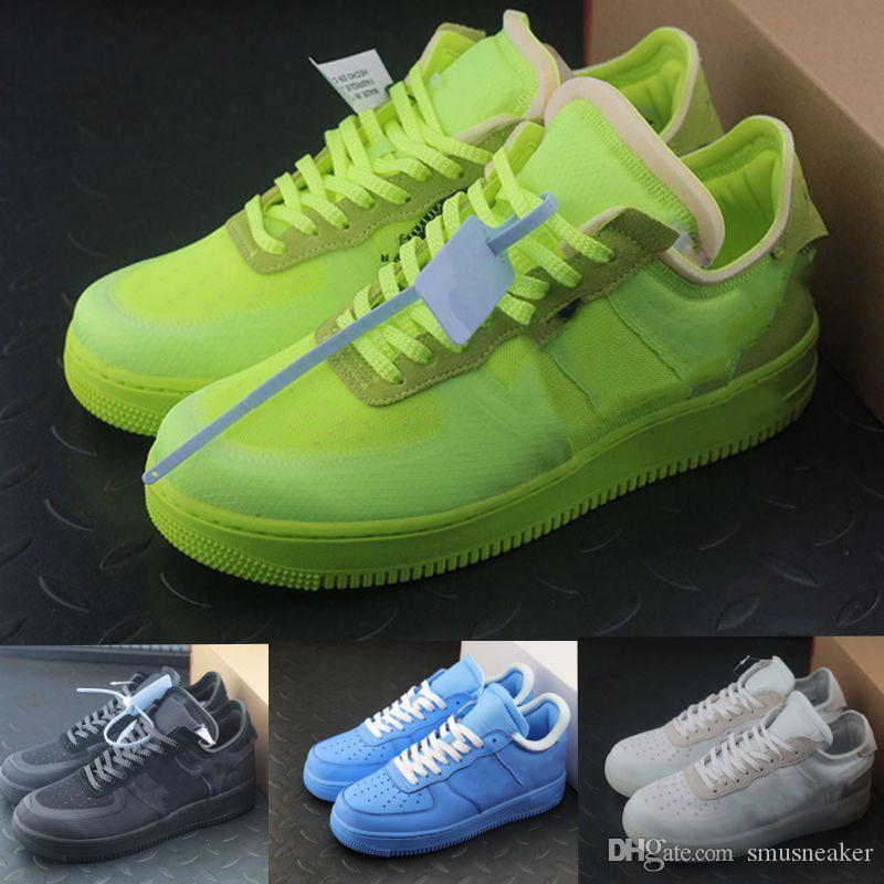 2020 Authentique 1 Chaussures de sport Vert fluorescentes Green Designer Low MCA Bleu Blanc Blanc En Argent métallisé Mes hommes Femmes Running Chaussures Sports Sneakers