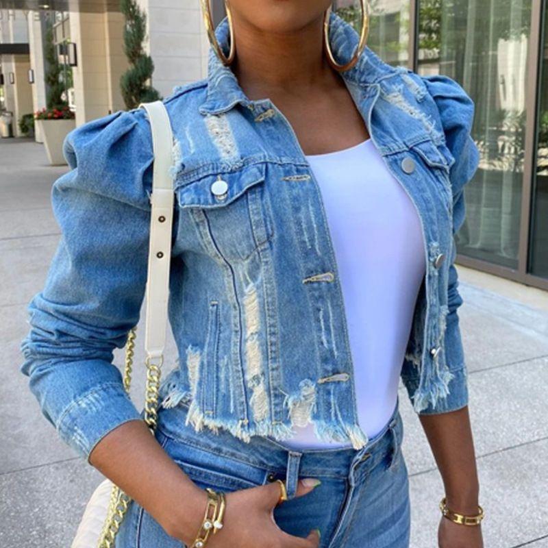 Le donne dei rivestimenti del denim High Street Vintage tagliati corti Jean cappotto casuale Puff Slim Sleeve jeans strappati Jacket