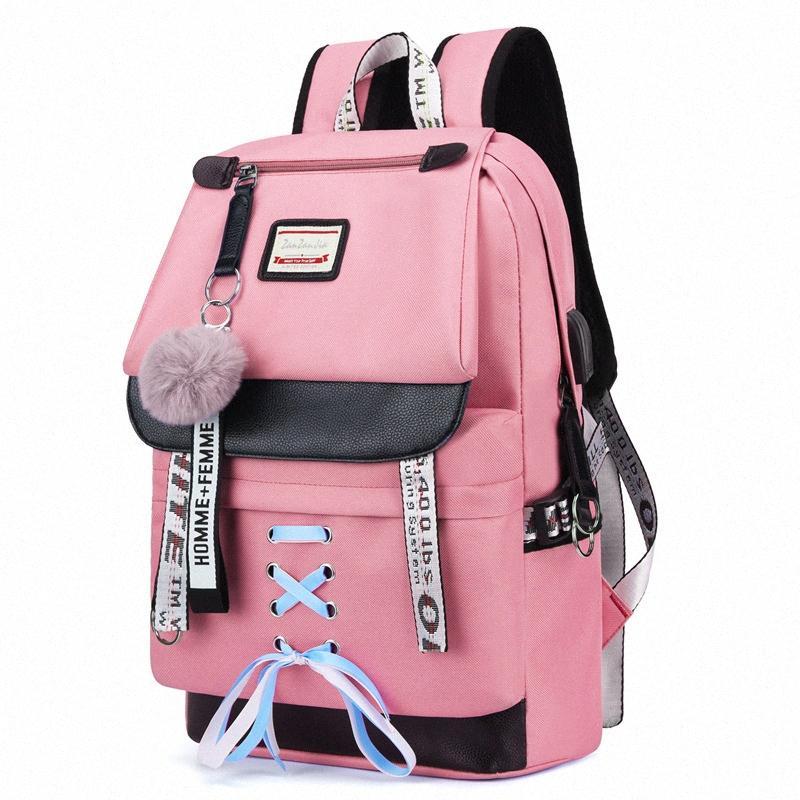 LOOZYKIT grande de las mujeres rosadas de la escuela mochila para chicas adolescentes USB escuela bolsa de mano Secundaria Estudiante universitario mochilas 2KlK #