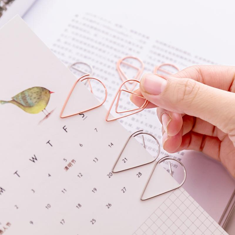 10 pieces/Lot Portable Plastic Drop Shaped Paper Clips Gold Silver Color Funny Kawaii Bookmark Office School Stationery Marking Clips BH0435
