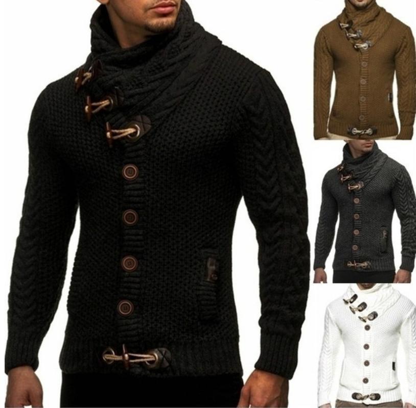 de meninos Black Men Inverno camisolas do casaco grosso Plus Size malha camisola de gola alta Oversize Xxxl Masculino Casual Malhas Vintage