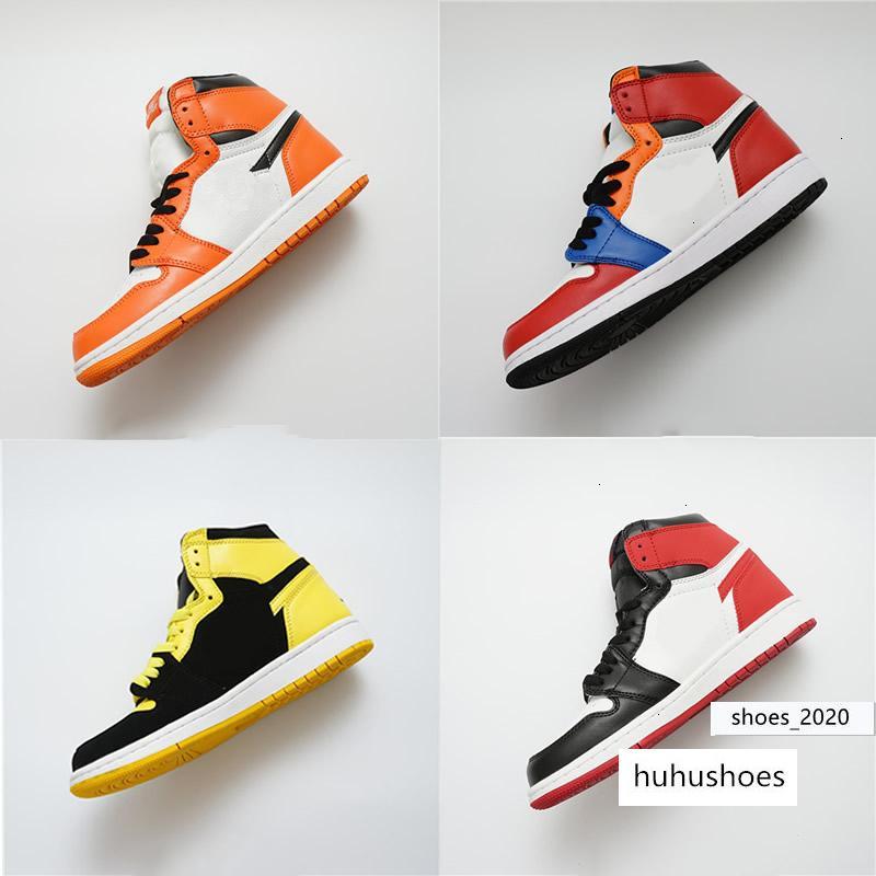 Mens brevetto Og l'Anno Rookie 1S 1 Pallacanestro Mid Chicago cristallo Mandarin Duck addestratori delle scarpe da tennis Eur36-47