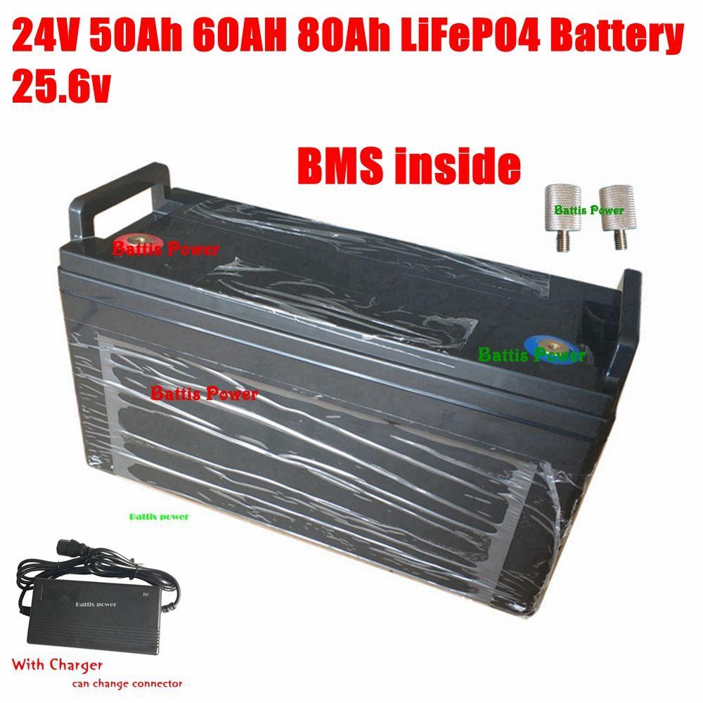 24V 50Ah 80Ah 60AH LiFePO4 batería 25.6V LFP inteligente BMS 80A 100A para el barco de la energía del motor de RV ups de energía solar + cargador 10A