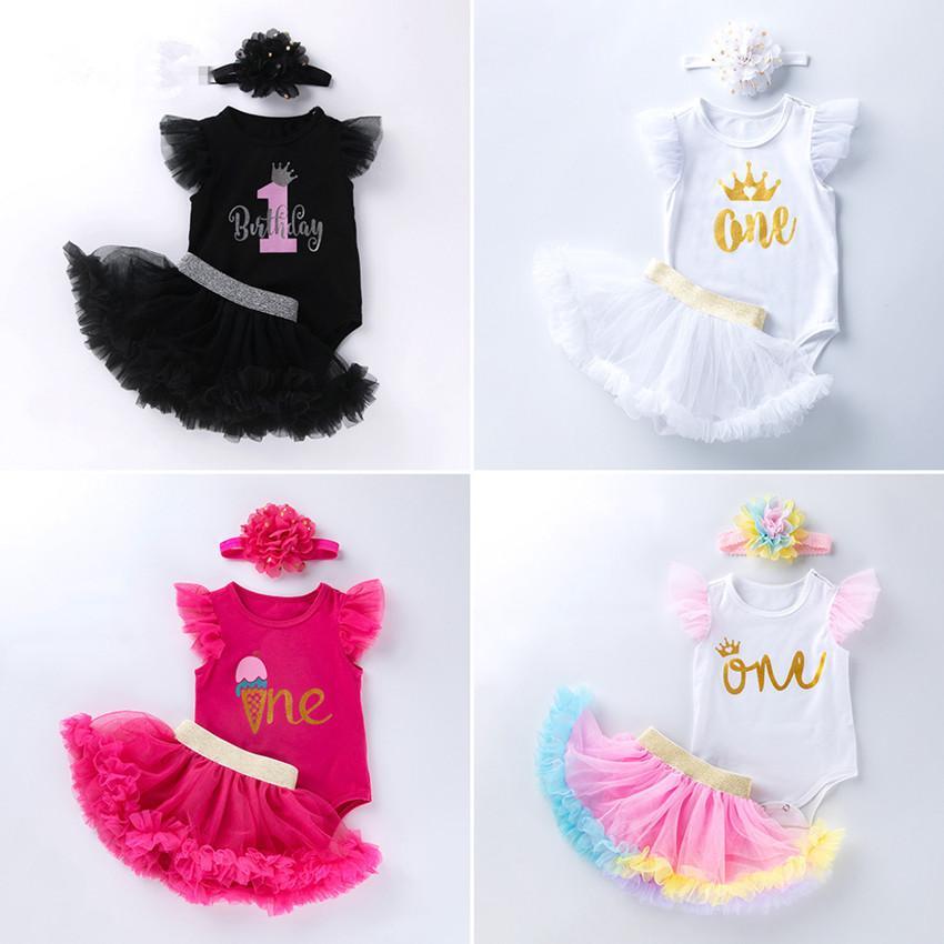 IN Tutu Pantskirt Body Stirnband 3pcs Mädchen Ärmel Fotografie Kinder-Halloween-Party-Prinzessin Kleiden Tüll Blase Baby-Geburtstags-Kleid