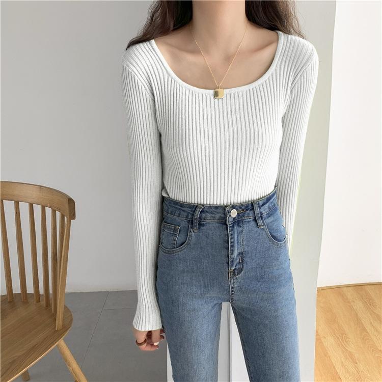 ajekY siete colores caen encima suéter de manga larga Corea nueva camisa de la base del estilo ajuste delgado suéter de cuello superior interna U de las mujeres