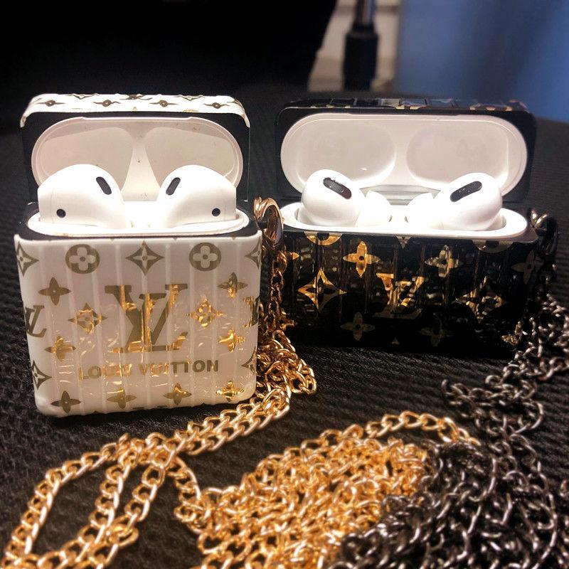 Material TPU weiche Gummi Fall vergoldete Buchstaben für Apple Airpods 1 2 Pro-Abdeckung Mode-verlorene Haken-Haken-Schlüsselanhänger für Airpod Fall