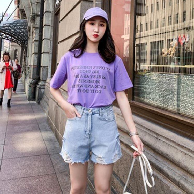 Las mujeres de gran y pantalones y pantalones de verano 2020 nueva MM200 grasa Jin estudiantiles cortos adelgazantes agujero suelta pantalones cortos de mezclilla tamaño