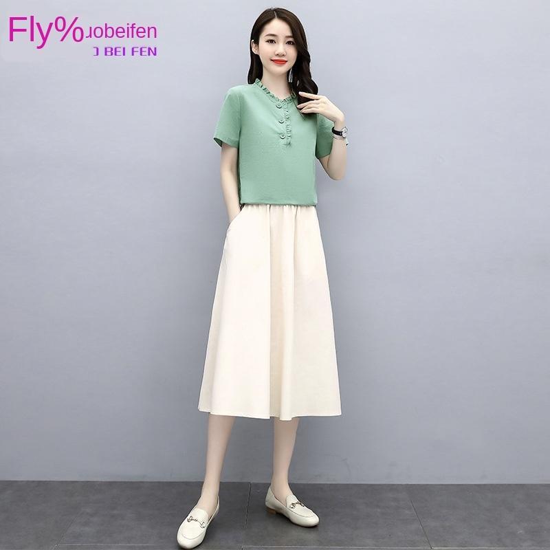 EpUe2 ixYcU Frauen Leinen und Baumwolle Anzug Baumwolle und Leinen 2020 neue berufliche Sommer beiläufige zweiteilige Kleid westlichen Stil Kleid Art und Weise