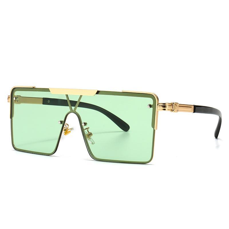 2020 Дизайнер Square Модные солнцезащитные очки Мужчины Женщины Урожай металла заклепок Крупногабаритные Оттенки Мужской UV400 Gafas De Sol