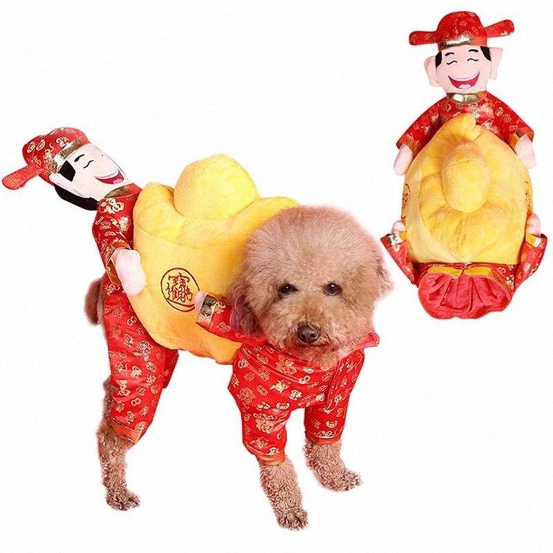 Dios de vestuario perro del jinete Riqueza Suerte Caballero del estilo chino de Halloween para mascotas Ropa SATM #