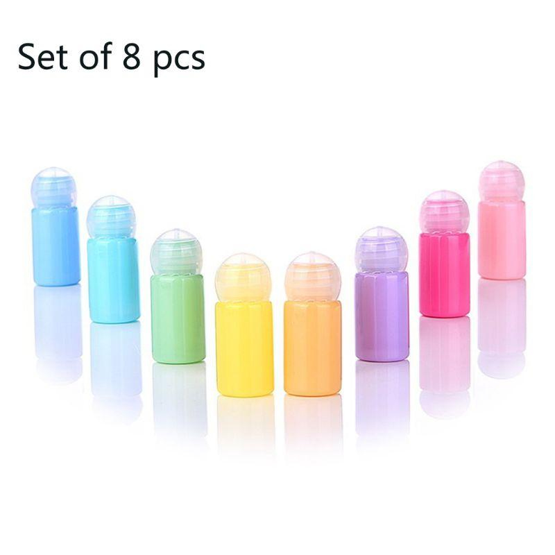 8pcs 10ml riutilizzabili Bottiglie vuote Cancella sfera rotonda coperchio di plastica portatile Olio Essenziale Contenitore Macaron colore della caramella Dispenser