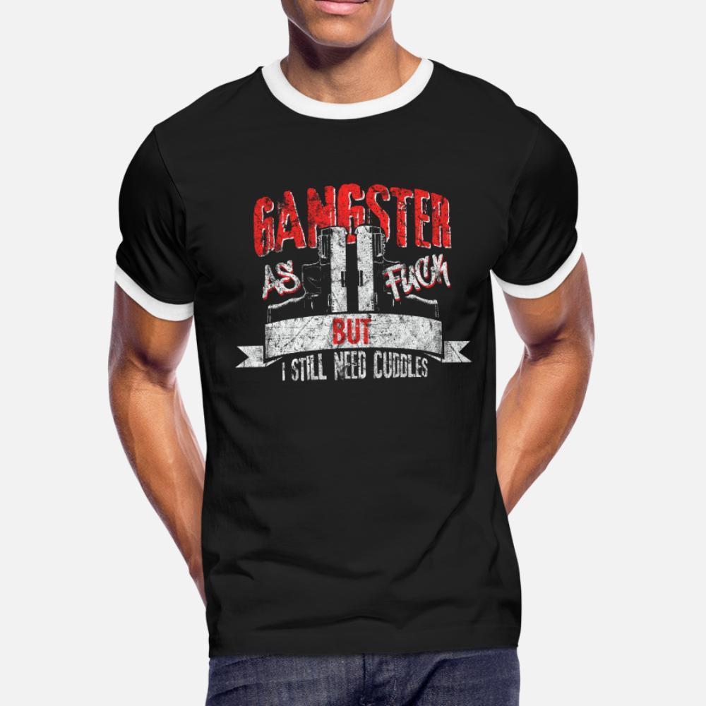Gangster Dizendo presente da camisa de t homens Design 100% algodão plus size 3xl camisa magro da aptidão confortável Primavera Outono Tendência