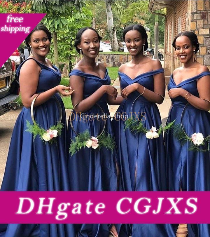 Темно-синий с плеча невесты платья 2019 рукавов Zipper назад African Wedding Guest мантий с боковой щелевой Дешевые Vestidos