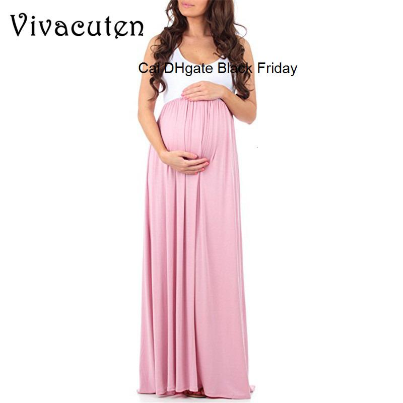 Maternity Dress Pregnant Ruched Maxi Maternity Dresses Mother Splice Beach Sundress Summer Long Dress for Pregnant Women M56