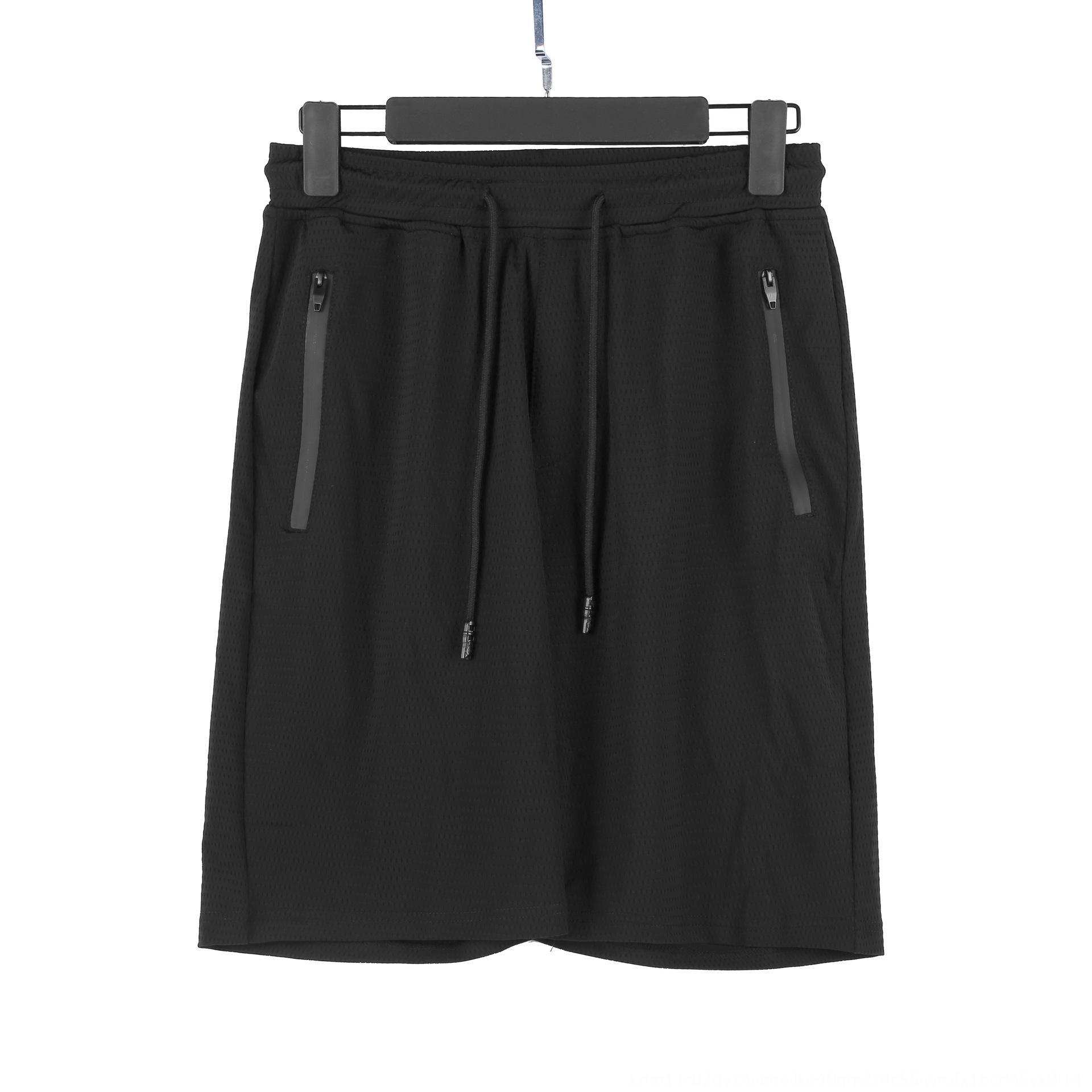 2020 verano pantalones de seda fina de hielo huecos-hacia fuera pantalones de traje de malla de tres barras deportes de los hombres respirables elásticos pantalones sueltos de manga corta se adapten a NFuSz