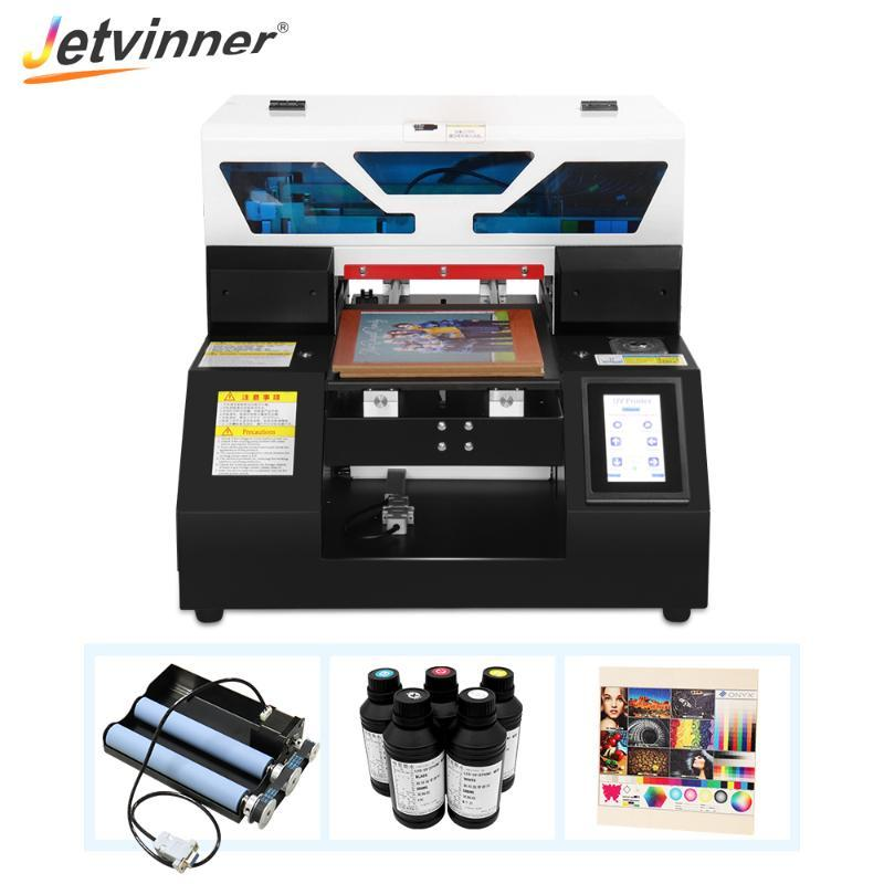 Full Automatic A4 UV Printer Flatbed Printer Phone Case With Bottle Holder With UV Ink For Plastic Wood Glass TPU Metal