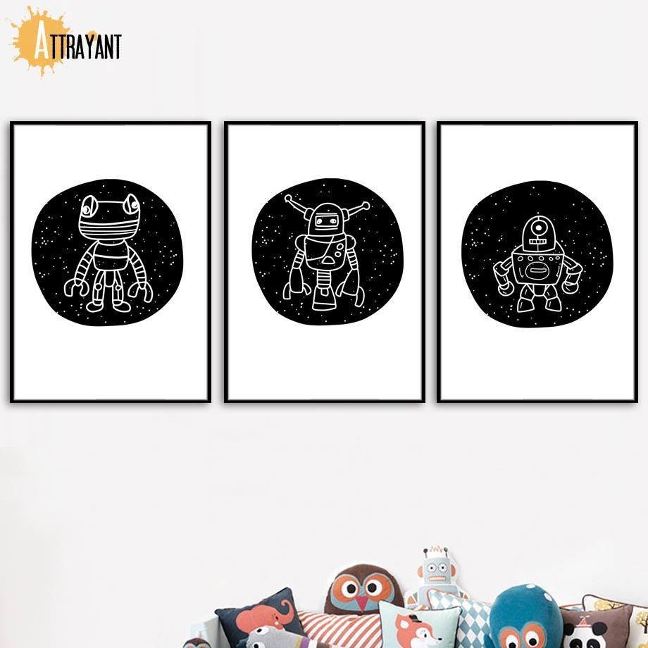 Résumé Robot Grenouille Noir Blanc Nursery Wall Art Impression sur toile Peinture affiches nordiques et photos Mur Impressions Pour Chambre Décor