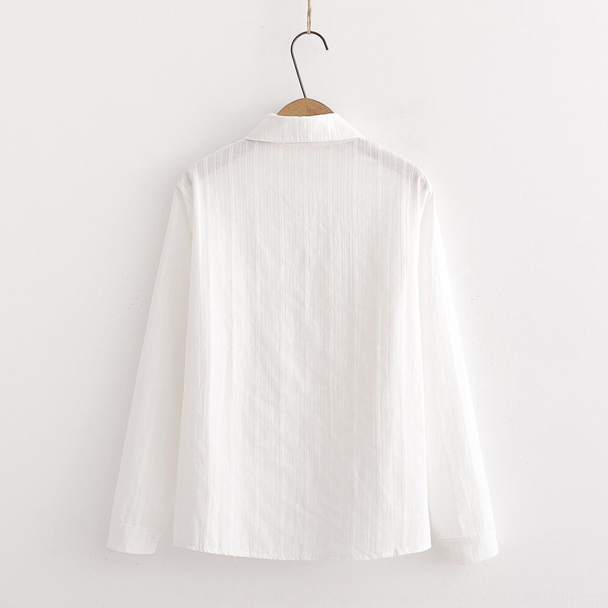 Хлопок и лен 2019 белого белого Top рубашка нового женских осеннего двойного дизайн кармана чувство сверху рыхлого похудения с длинным рукавом лацкан рубашка bFtpv