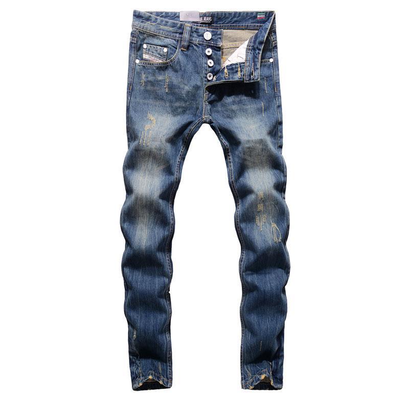 2020 de alta calidad de la marca de los hombres del diseñador de moda los pantalones vaqueros pantalones vaqueros rasgados DISTRESSED hombres heterosexuales Fit Home, 100% algodón, 9003-C