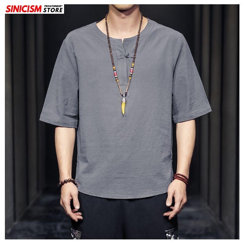 Sinisation Magasin 2020 Hommes Coton Lin O-Neck T-shirts T-shirts d'été coloré d'hommes déliés TShirts Vêtements pour hommes chinois Style Oversize