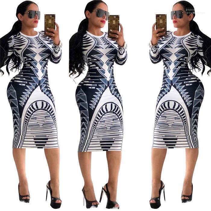 Donne Flora stampati Club Abiti femminili abiti firmati donne Skinny Dress manica lunga estate abiti O-Collo
