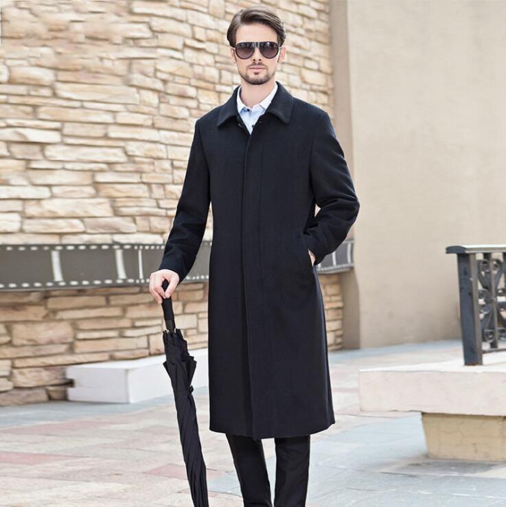 Trench da uomo 2021 Mens Cappotto di lana Moda uomo lungo autunno inverno inverno doppio petto antivento antivento giacche slim slim plus size vestiti