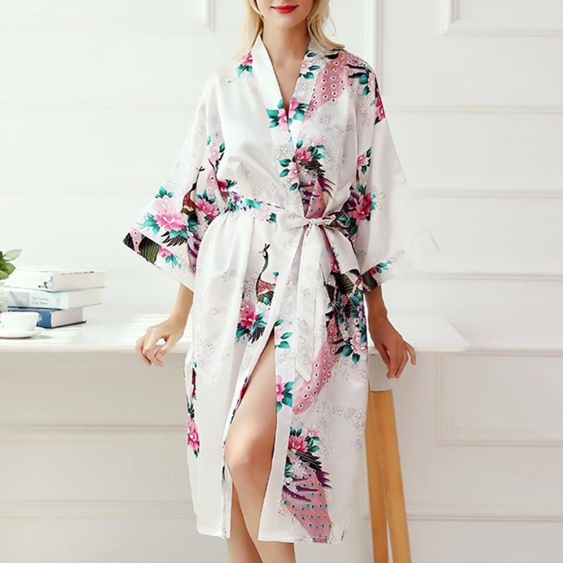 Elegante Nachthemd Frauen-reizvolle Satin-lange Nachtwäsche Art und Weise Neue Frauen-Mädchen-Sexy V-Ausschnitt, Print-Pyjamas Sommer Bademantel Nachtwäsche