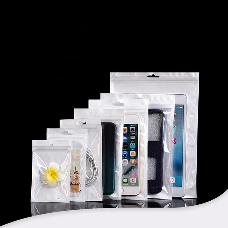 Clear + Weiß Kunststoff-Reißverschluss-Kleinpaket-Beutel für USB-Kabel Auto-Ladegerät Kopfhörer Handy-Zubehör Perle Poly Beutel 8 * 14cm 13 * 21cm