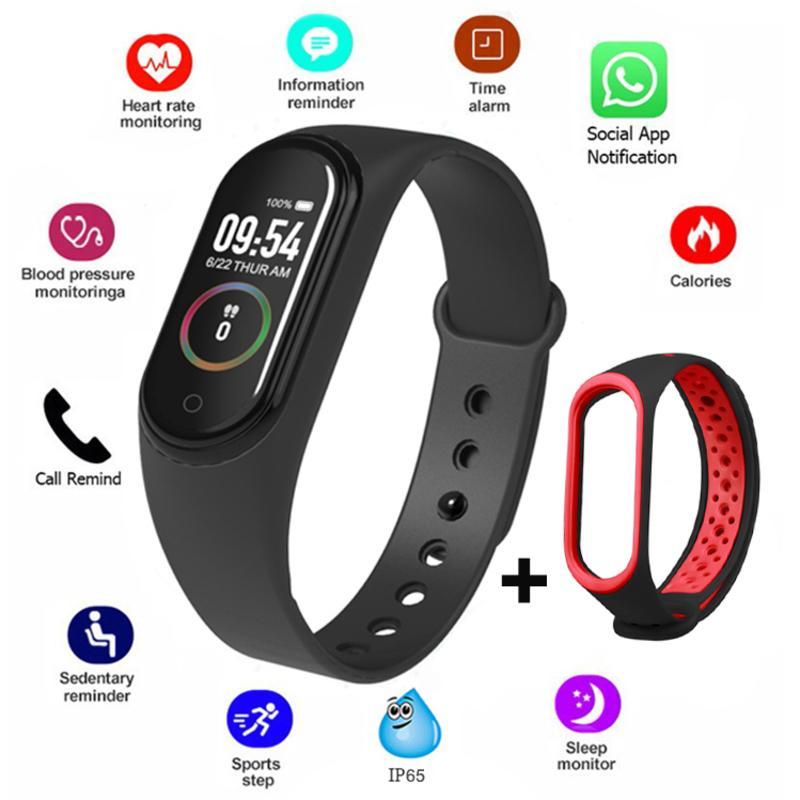 Schermo M4 Colore del braccialetto di pressione intelligente sport della fascia del fitness Contapassi Sangue Wristband Passeggiata Step Counter donne degli uomini della vigilanza