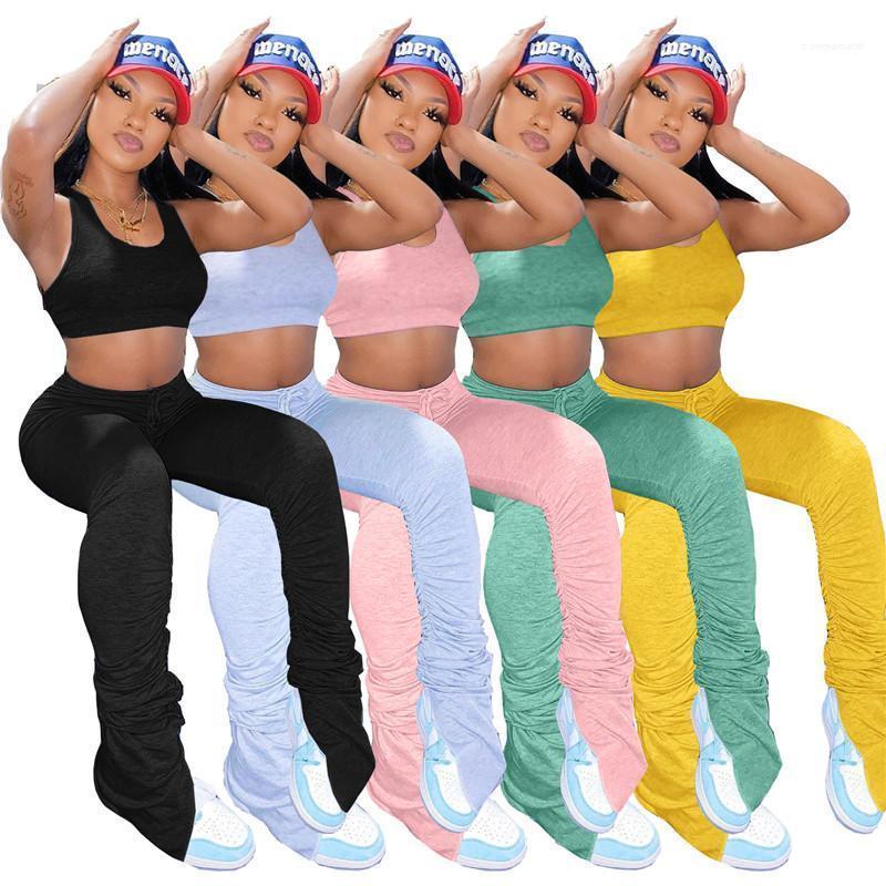 Tok Renk Uzun Pantolon 2PCS Bayanlar Casual Slim Kolsuz Kadın Suits Bayan Yığılmış Tracksuits Yelek Pantolon Moda ayarlar